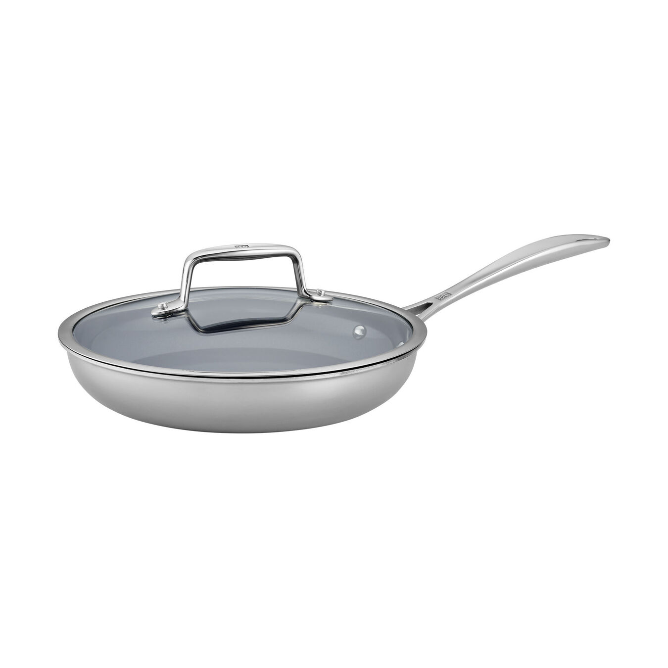 2-pc Stainless Steel Ceramic Nonstick Fry Pan with Lid Set,,large 1
