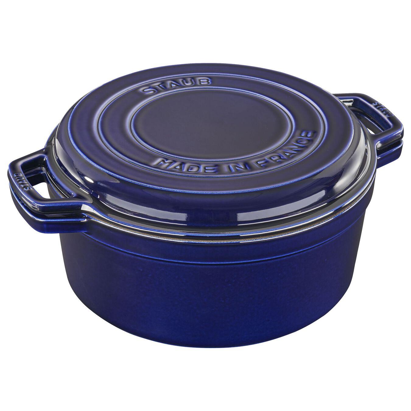 Cocotte et gril 28 cm, Bleu intense, Fonte,,large 1