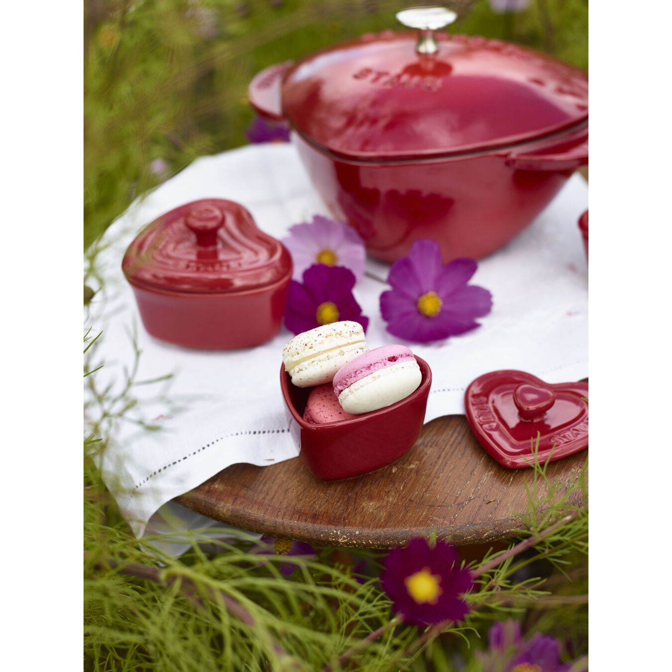 Cocotte 20 cm, Herz, Kirsch-Rot, Gusseisen,,large 6