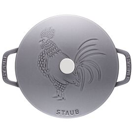 Staub Cast Iron, 9.45-inch round French oven rooster, Graphite Grey
