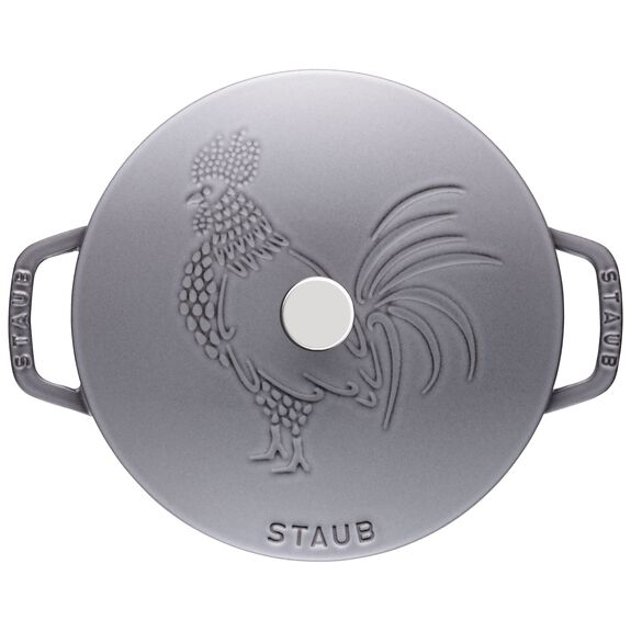 9.45-inch round French oven rooster, Graphite Grey,,large