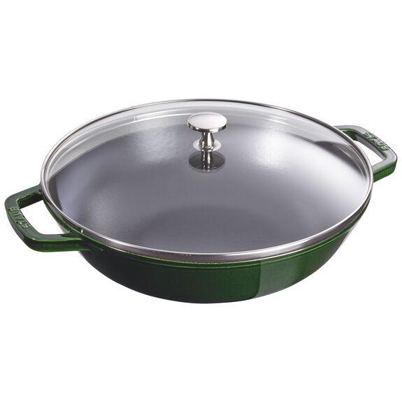 30-cm-/-12-inch Enamel Wok with glass lid, Basil-Green,,large