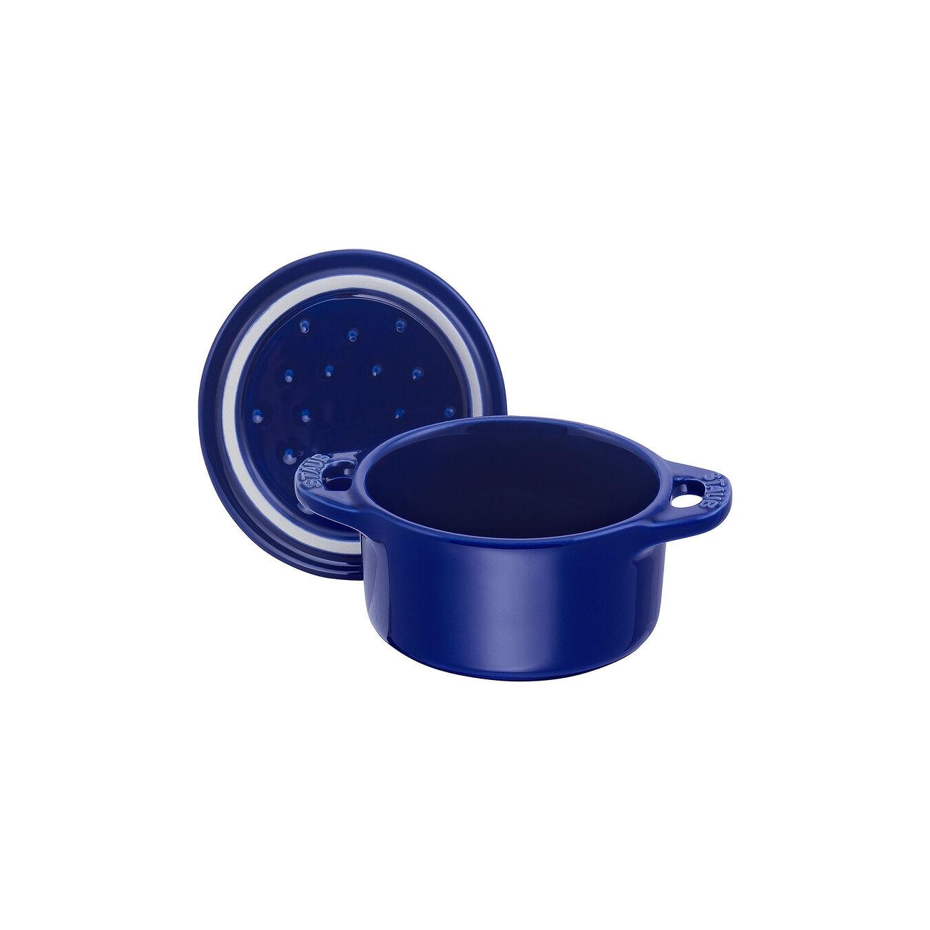 Mini Cocotte 10 cm, Rond(e), Bleu intense, Céramique,,large 6