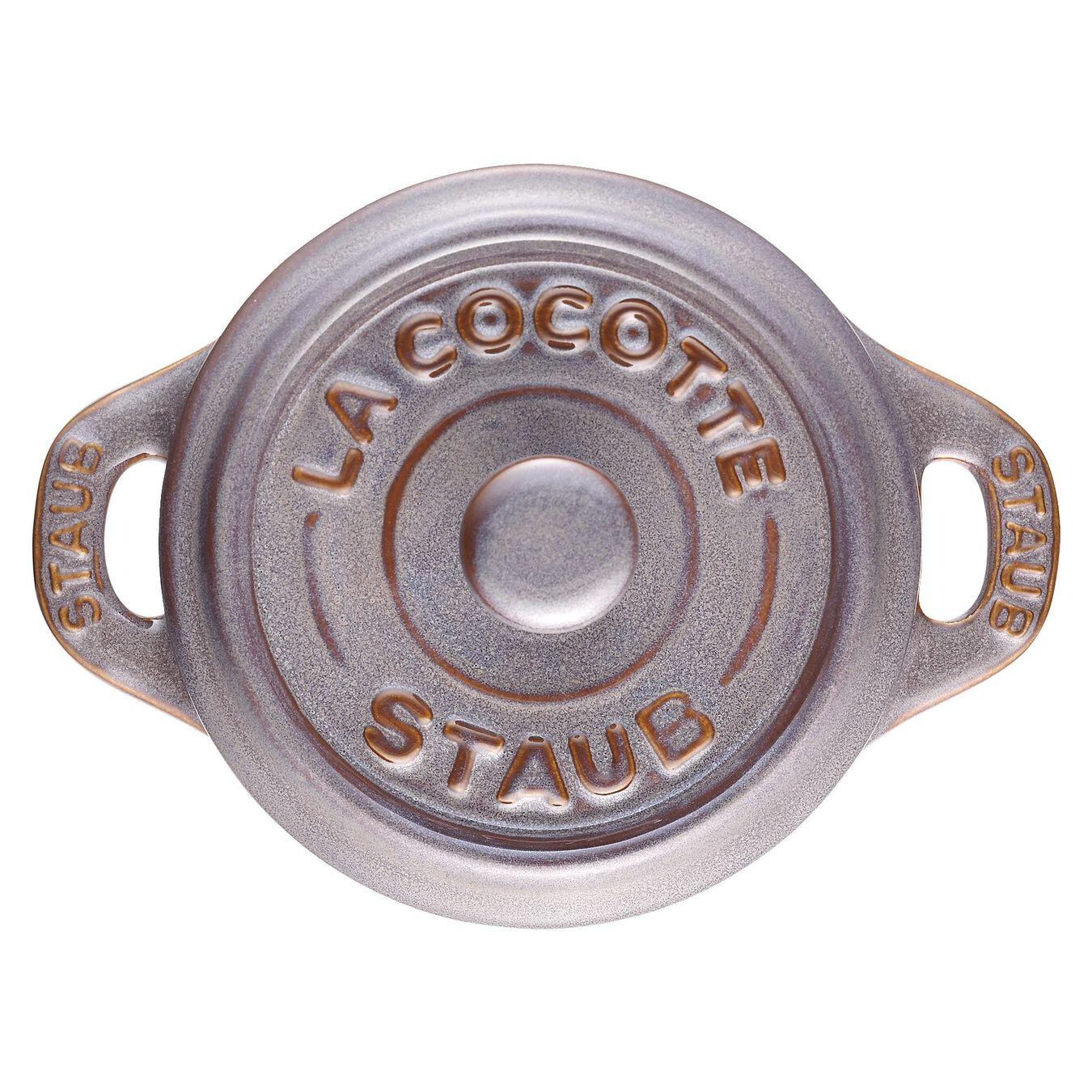 Minigryta 10 cm, Rund, Antik grå, Keramiskt,,large 4