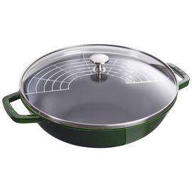 Staub Cast iron, 30 cm / 12 inch Cast iron Wok with glass lid, Basil-Green