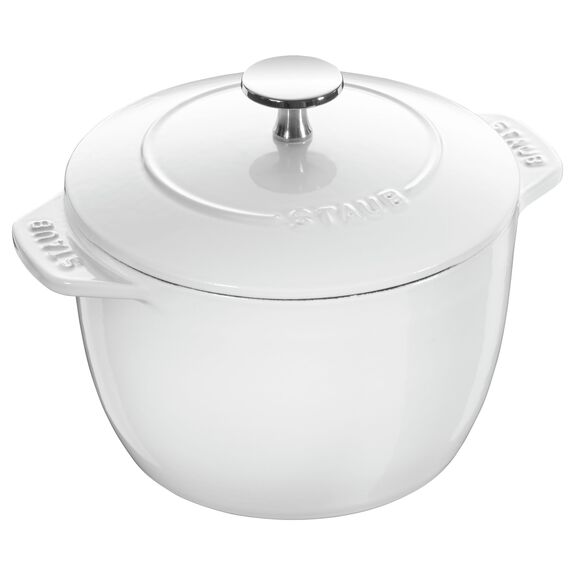 6.3-inch round Cast iron Rice Cocotte, White,,large