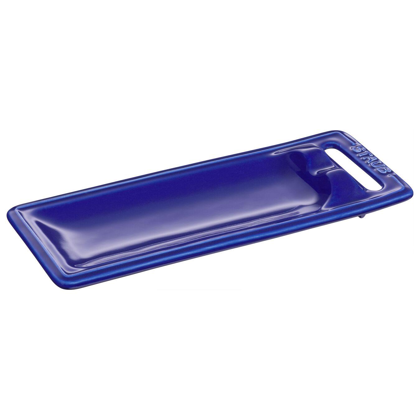 25 cm x 10 cm Ceramic Spoon rest, Dark-Blue,,large 1