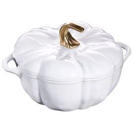 Staub Cast iron, 3.65-qt-/-24-cm Pumpkin Cocotte, Pure-White
