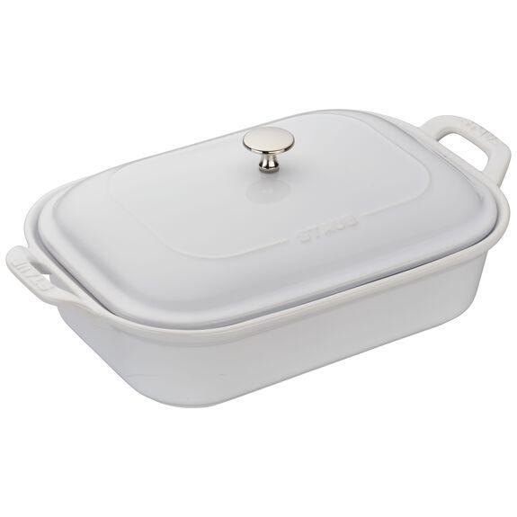 12-inch x 8-inch Rectangular Covered Baking Dish, White, , large