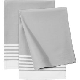 ZWILLING Textiles, 2 Piece cotton Kitchen towel set striped, grey