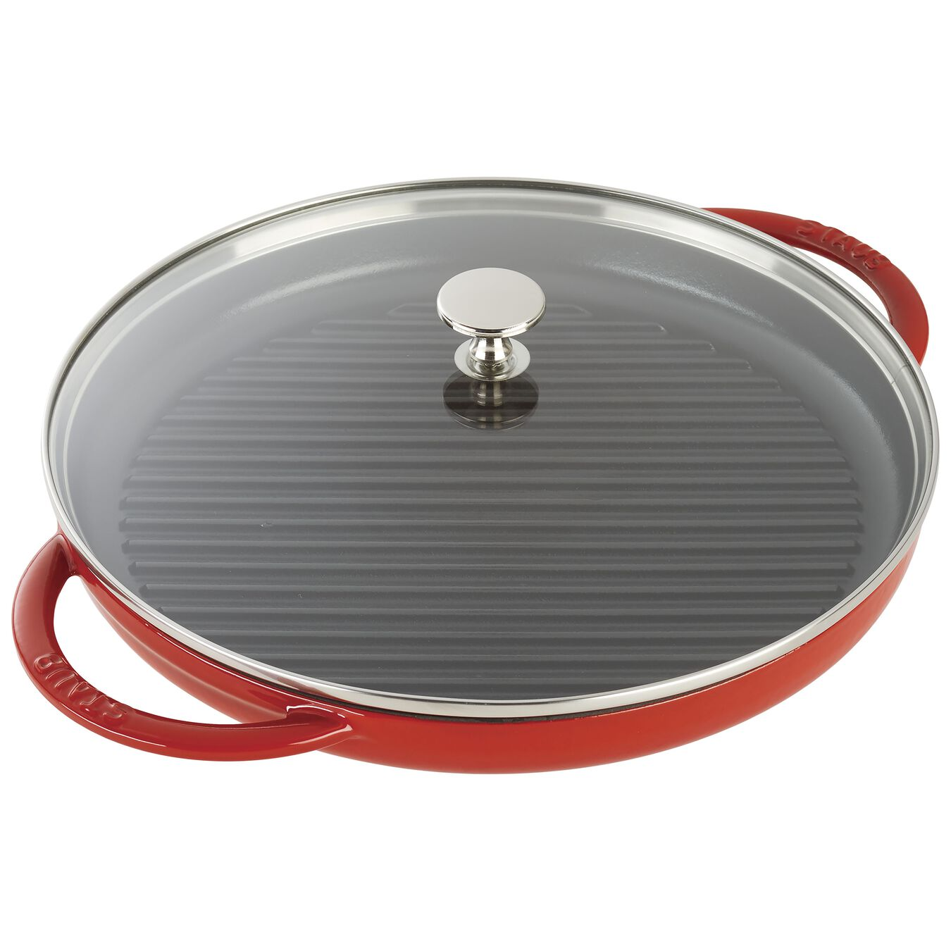 30 cm / 12 inch Cast iron round Grill pan with glass lid, Cherry,,large 2