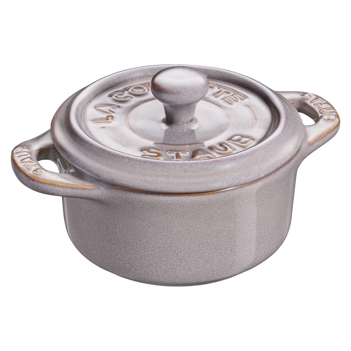 Minigryta 10 cm, Rund, Antik grå, Keramiskt,,large 1