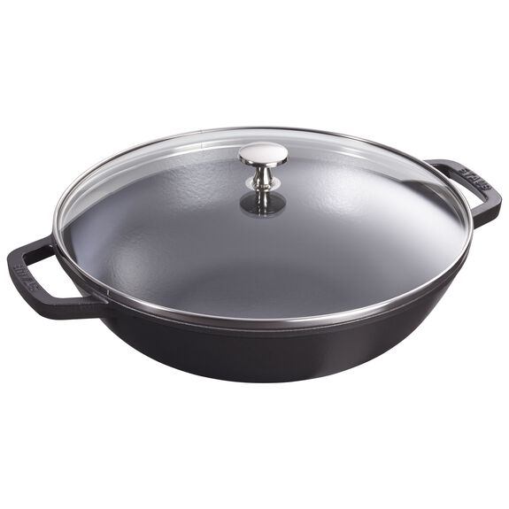 30-cm-/-12-inch Enamel Wok with glass lid, Black,,large