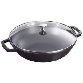 Staub Cast iron, 3-cm-/-12-inch Enamel Wok with glass lid, Black