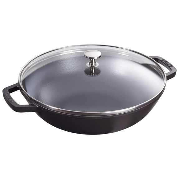 12-inch Enamel Wok with glass lid, Black,,large