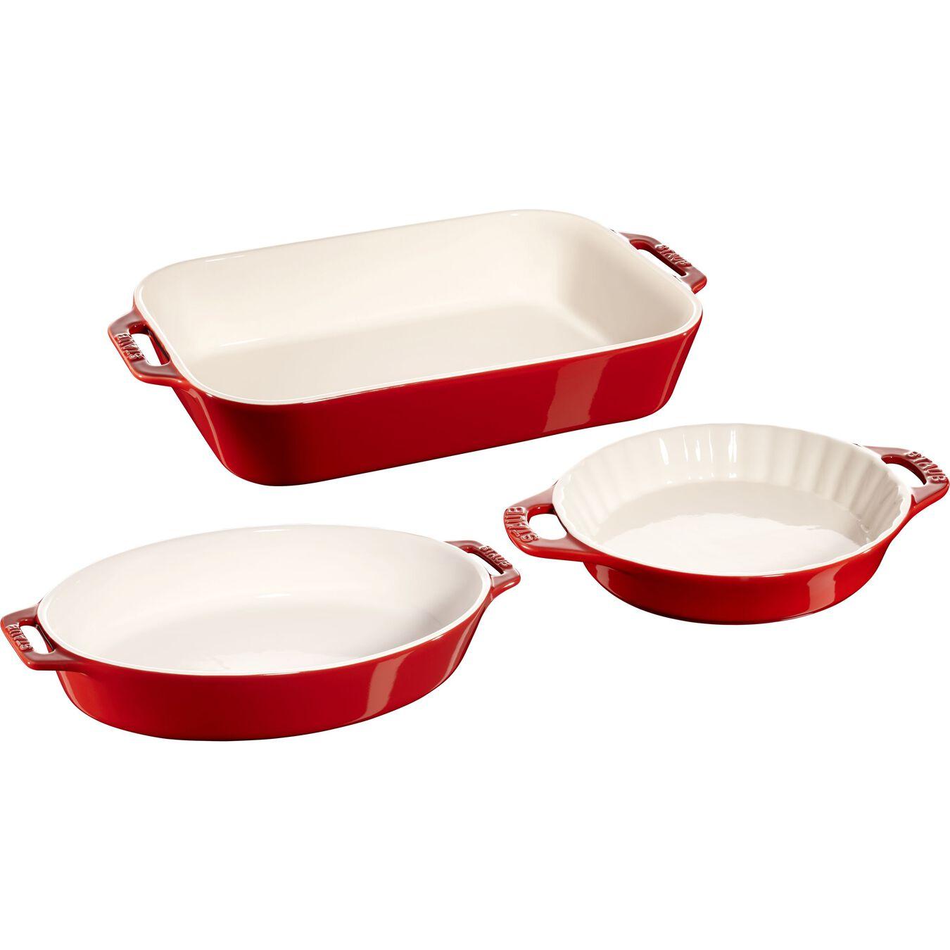 3-pc, Mixed Baking Dish Set, cherry,,large 1