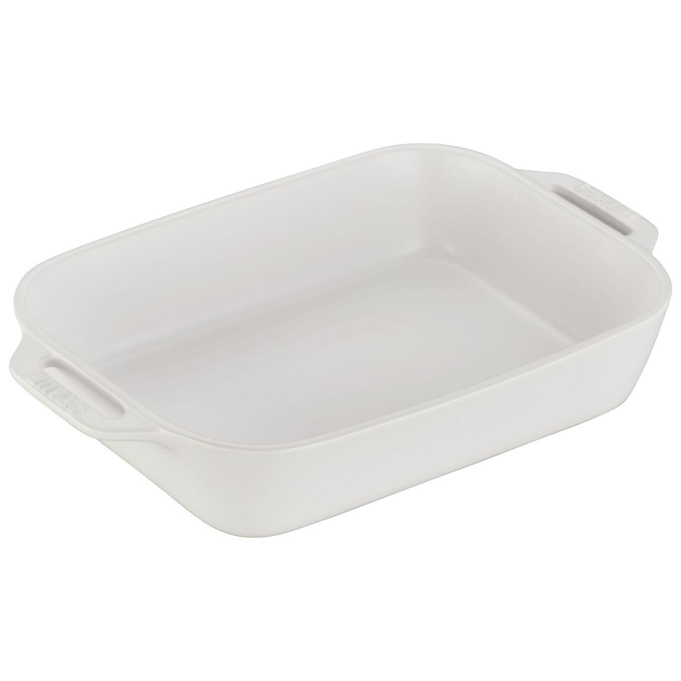 2-pcs rectangular Ensemble plats de cuisson pour le four, Matte-White,,large 3