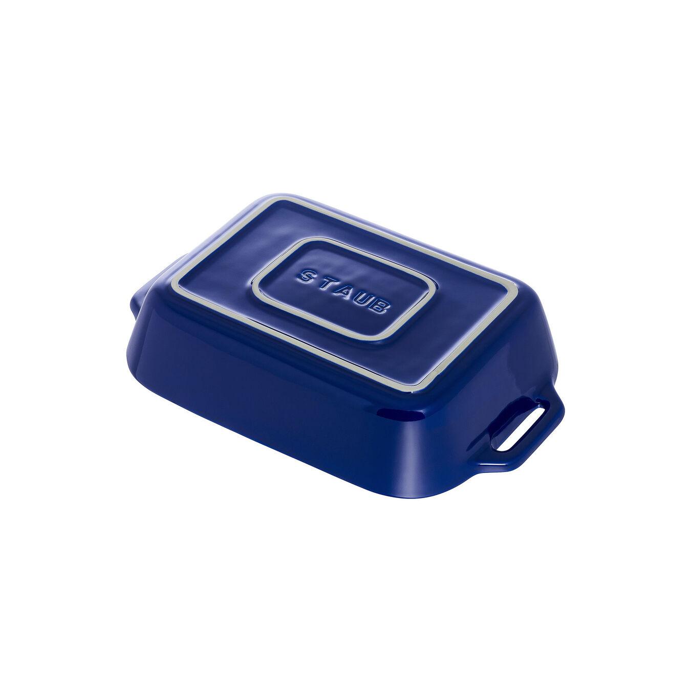 Ceramic rectangular Plat empilable, Dark-Blue,,large 3