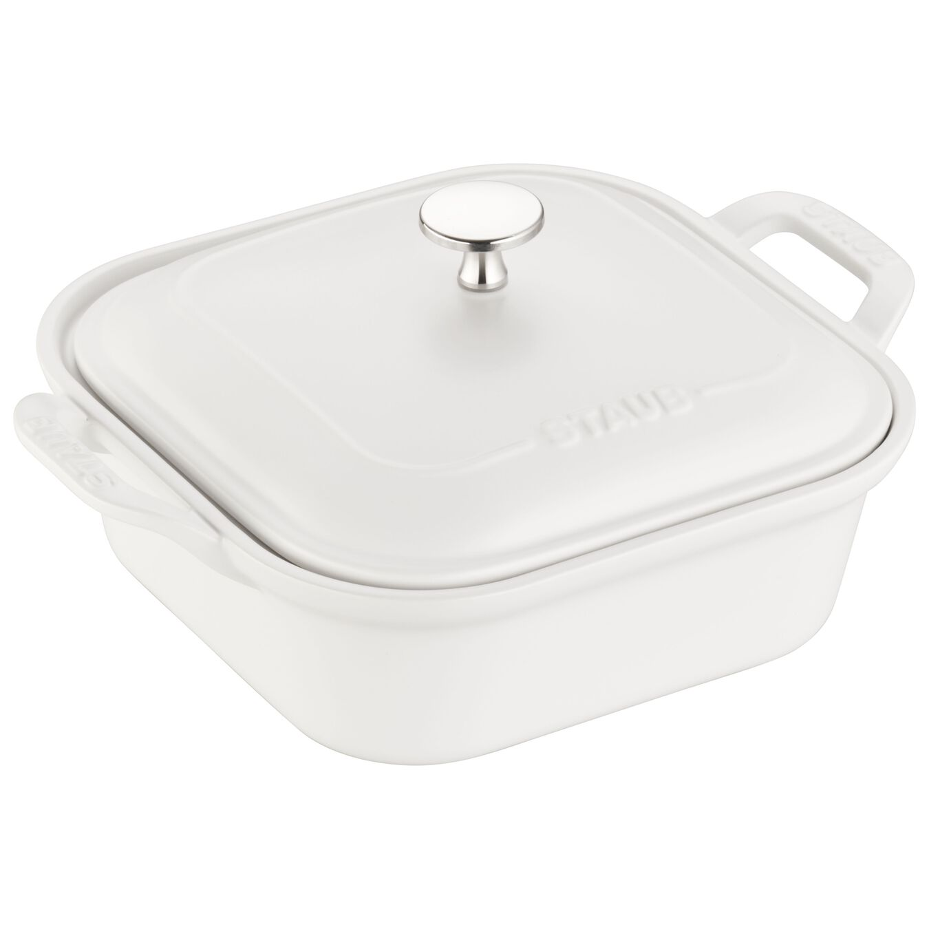 9-inch X 9-inch Square Covered Baking Dish - Matte White,,large 1