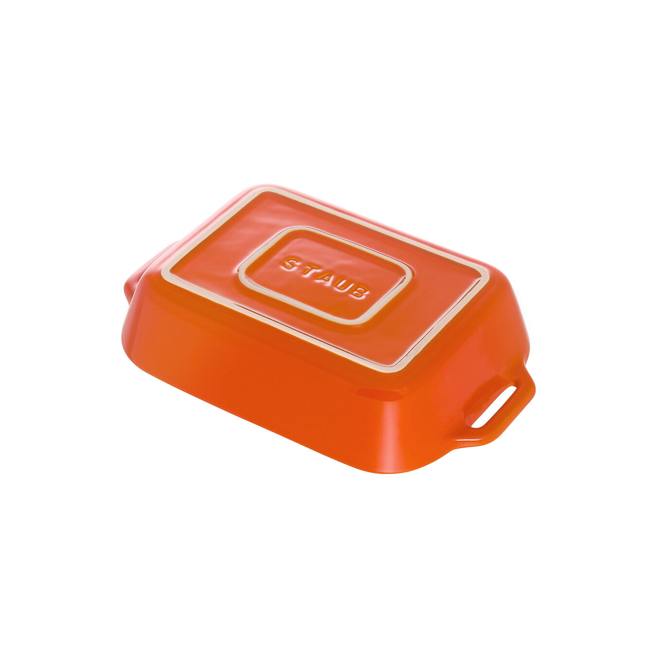Ceramic rectangular Plat à four, Orange,,large 3