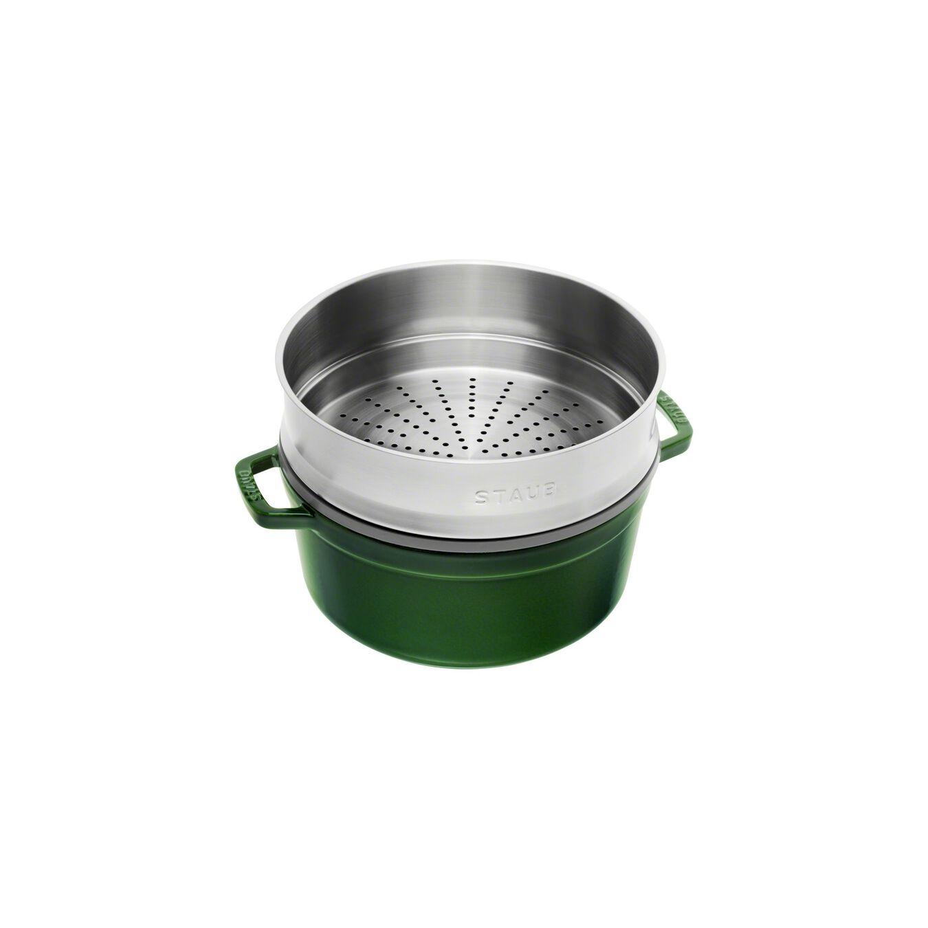 Cocotte con cestello a vapore rotonda - 26 cm, basilico,,large 3