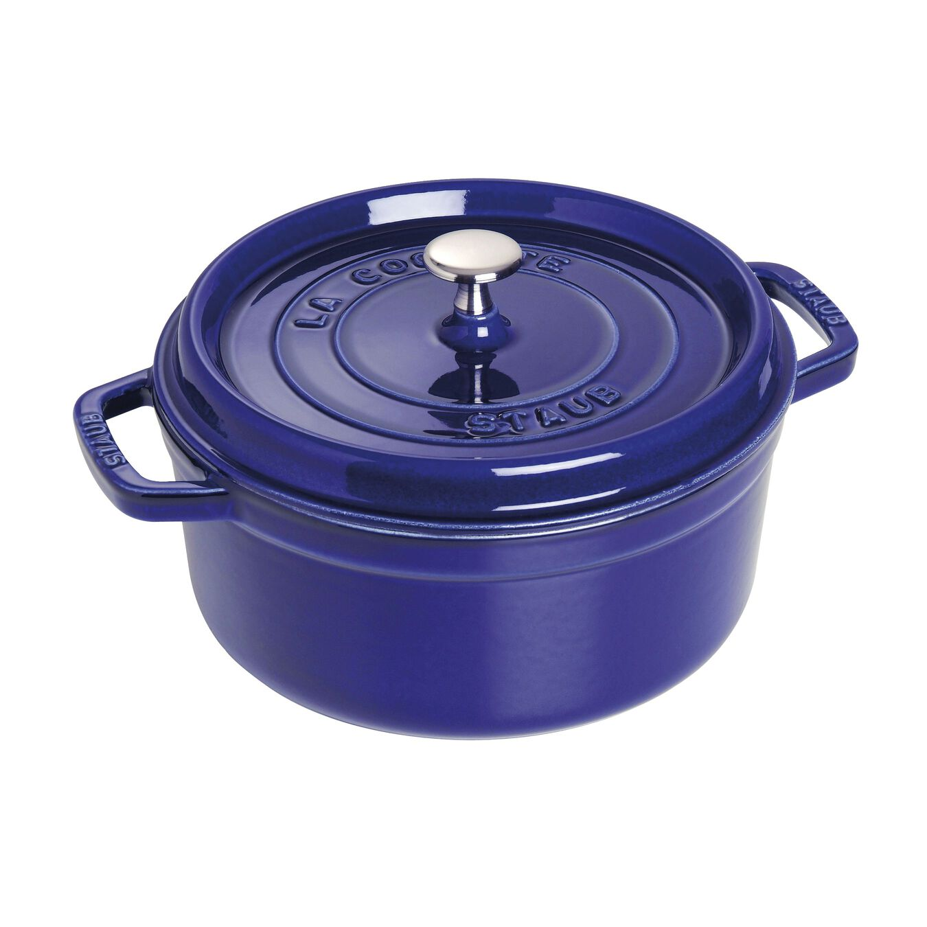 Cocotte 22 cm, Rond(e), Bleu intense, Fonte,,large 1
