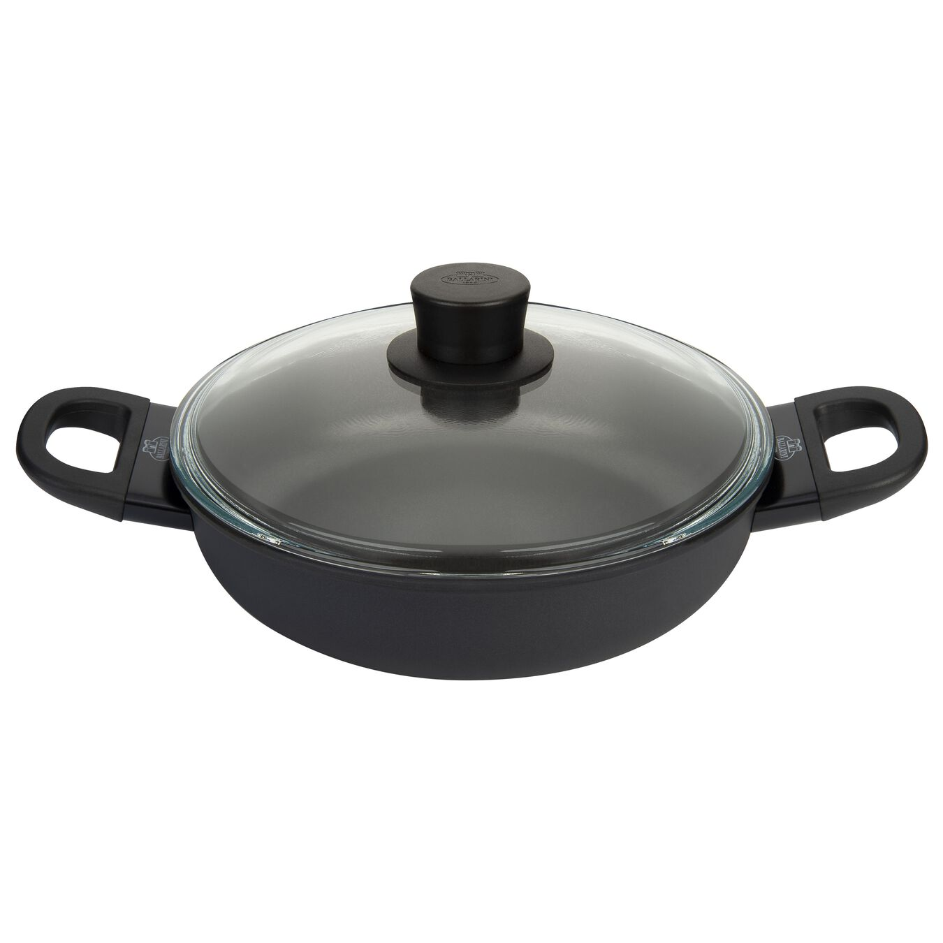 Aluminum round Saucier and sauteuse with glass lid, black,,large 1