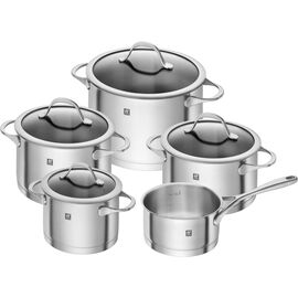 ZWILLING Essence, Cookware Set With Bonus Cast Iron French Oven and 8-pc Steak Knives, 18/10 Stainless Steel | round | 18/10 Stainless Steel