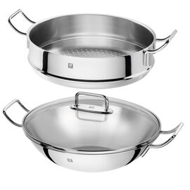 ZWILLING Plus, 3 Piece 18/10 Stainless Steel wok with steamer and lid