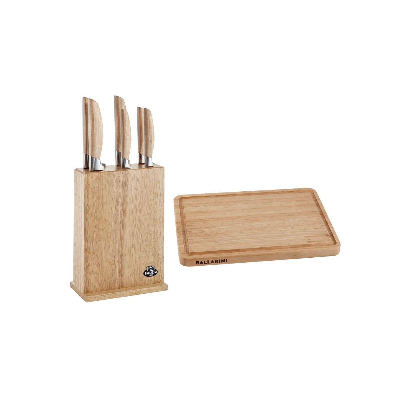 Set di coltelli con ceppo con tagliere - 8-pz., naturale,,large 1