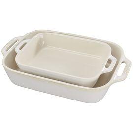 Staub Ceramique, 2-pcs square Ensemble plats de cuisson pour le four, Ivory-White