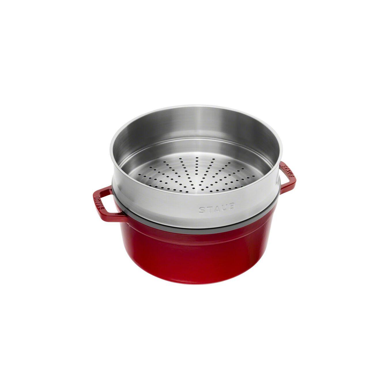 Cocotte avec panier vapeur 26 cm, Rond(e), Cerise, Fonte,,large 2
