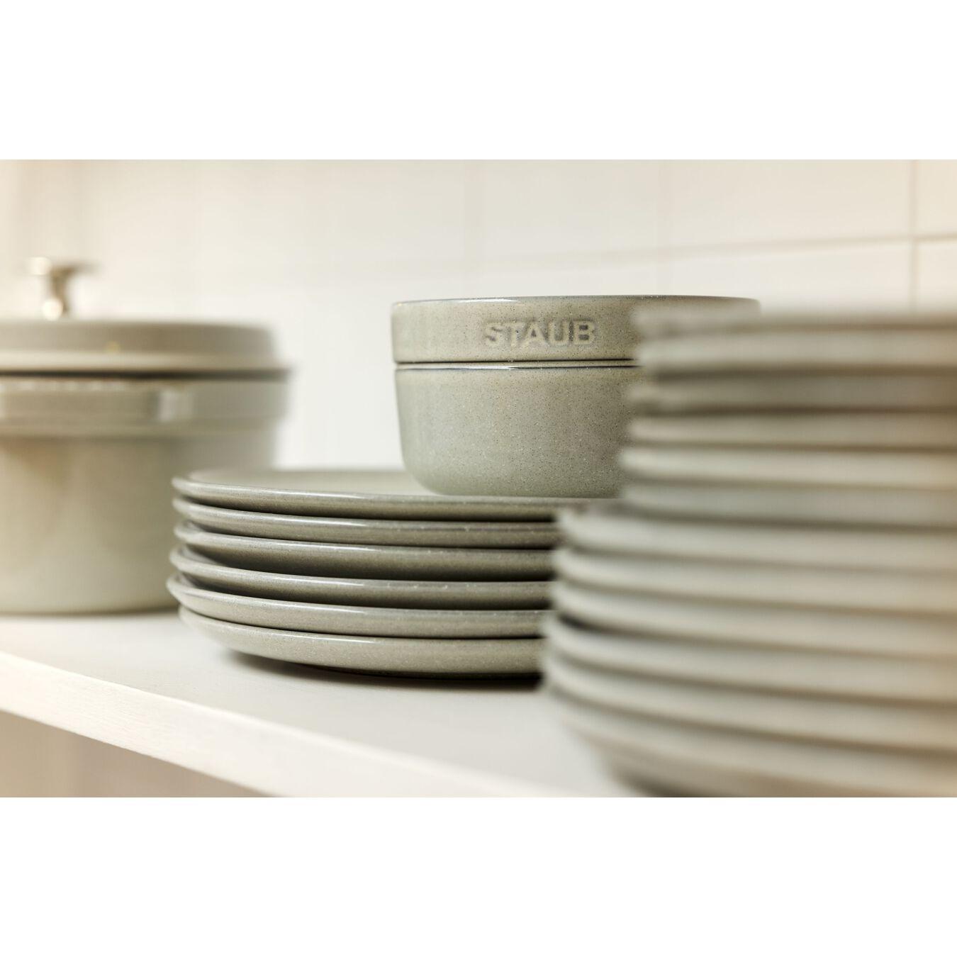 26 cm Ceramic round Plate flat, white truffle,,large 4
