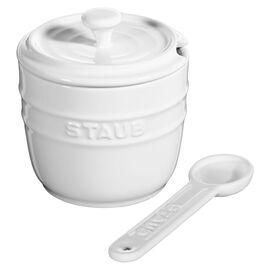 Staub Ceramique, Zuccheriera con cucchiaino rotonda - 9 cm, Colore bianco puro