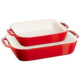 Staub Ceramic - Rectangular Baking Dishes/ Gratins, 2-pc, Rectangular Baking Dish Set, cherry