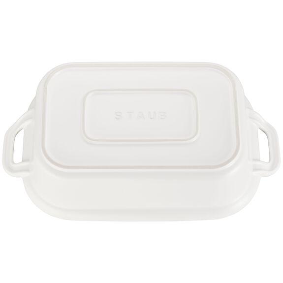 """12"""" x 8"""" Rectangular Covered Baking Dish, Matte White, , large 3"""