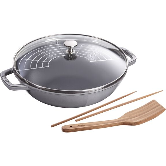 30-cm-/-12-inch Enamel Wok with glass lid, Graphite-Grey,,large 2