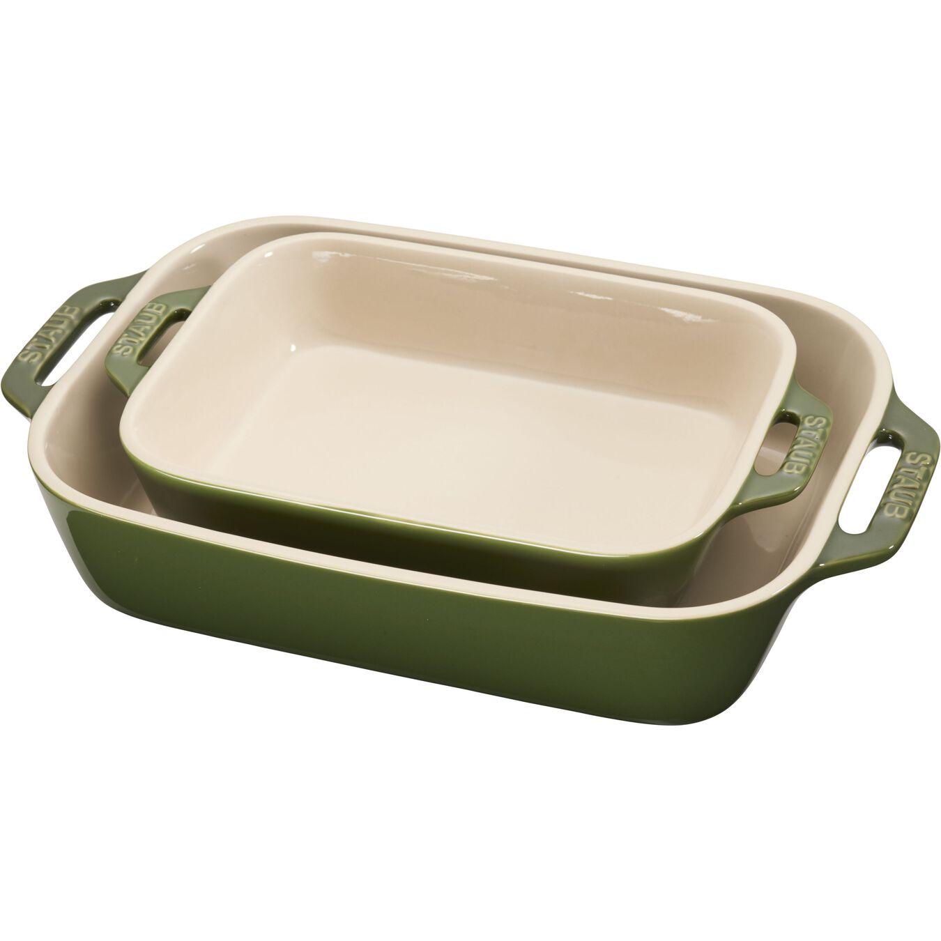 2-pcs rectangular Ensemble plats de cuisson pour le four, Basil-Green,,large 1
