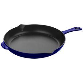 Staub Cast iron, 30 cm / 12 inch Cast iron Frying pan, lily decal, dark-blue