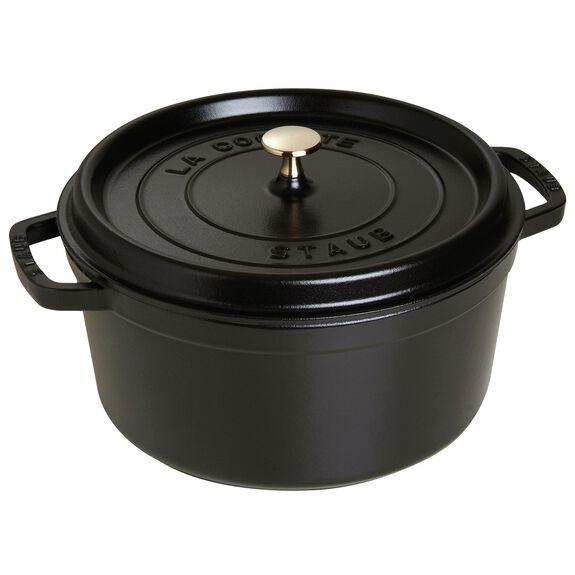 7.25-qt round Cocotte, Black,,large