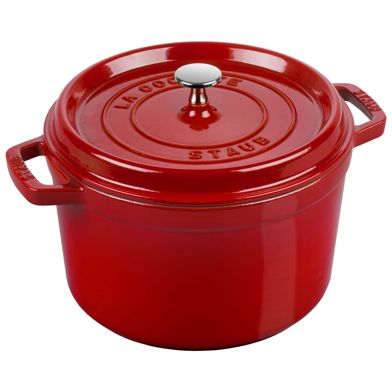 5 qt, round, Cocotte, cherry - Visual Imperfections,,large 1