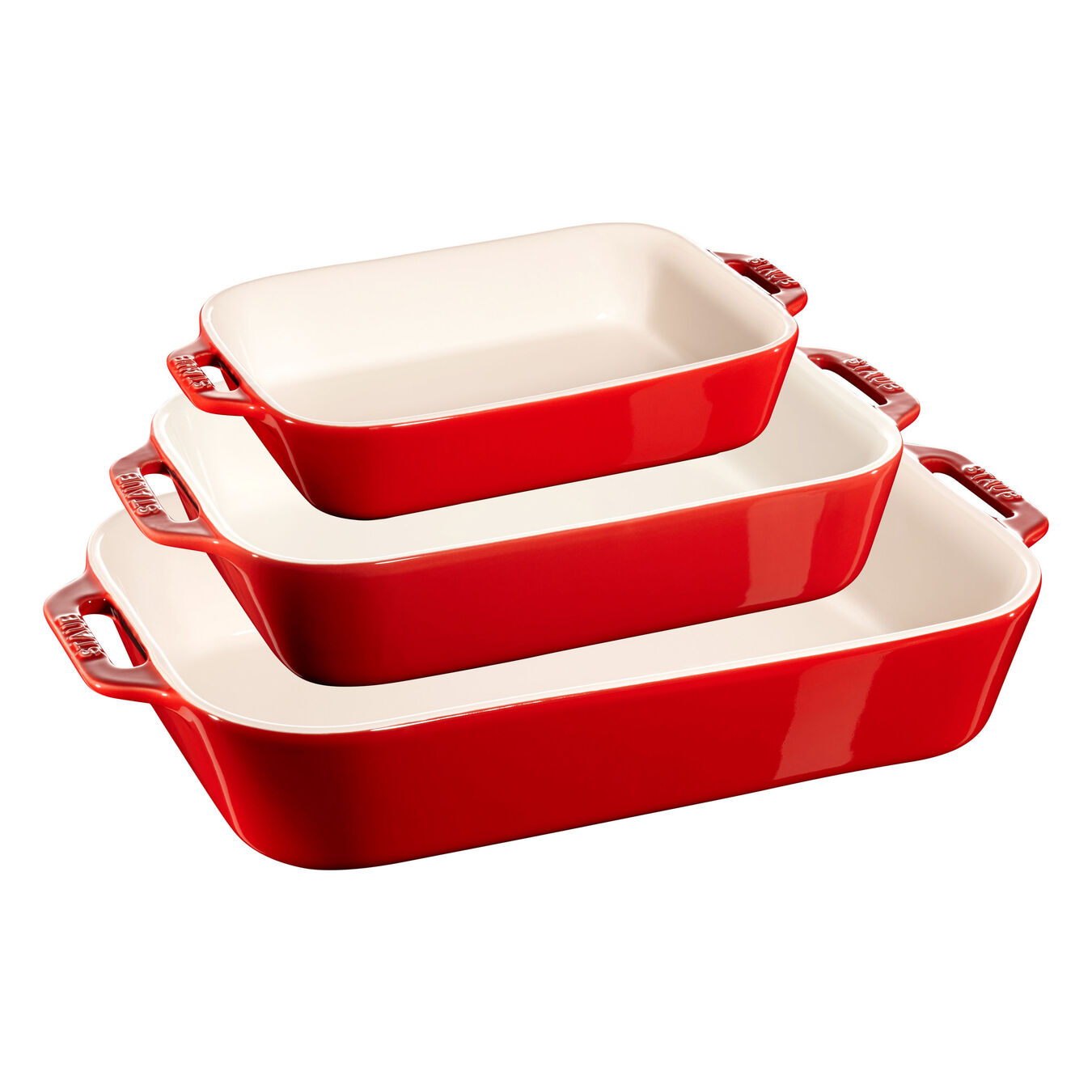 3 Piece rectangular Bakeware set, Cherry,,large 1