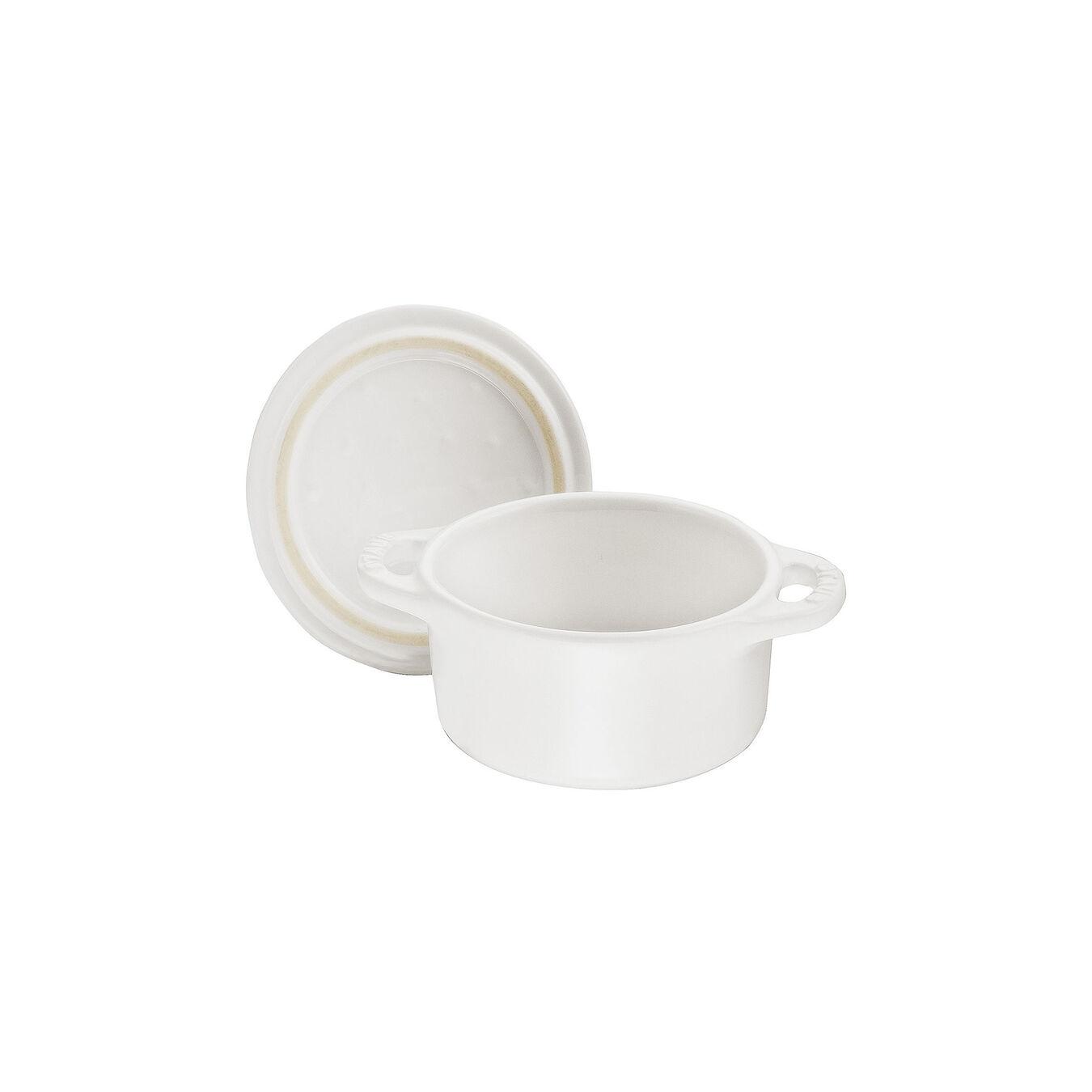 Mini Cocotte 10 cm, redondo, Branco puro, Cerâmica,,large 5