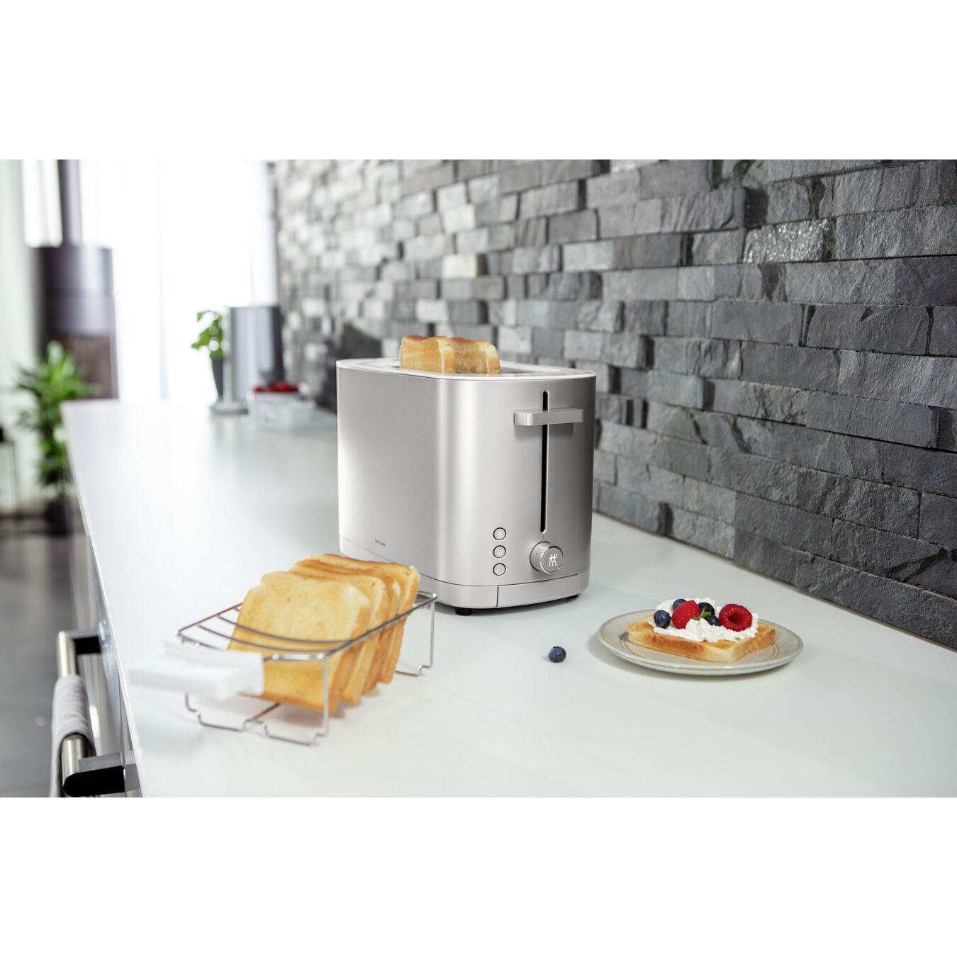 Toaster mit Brötchenaufsatz, 2 Schlitze kurz, Silber,,large 2