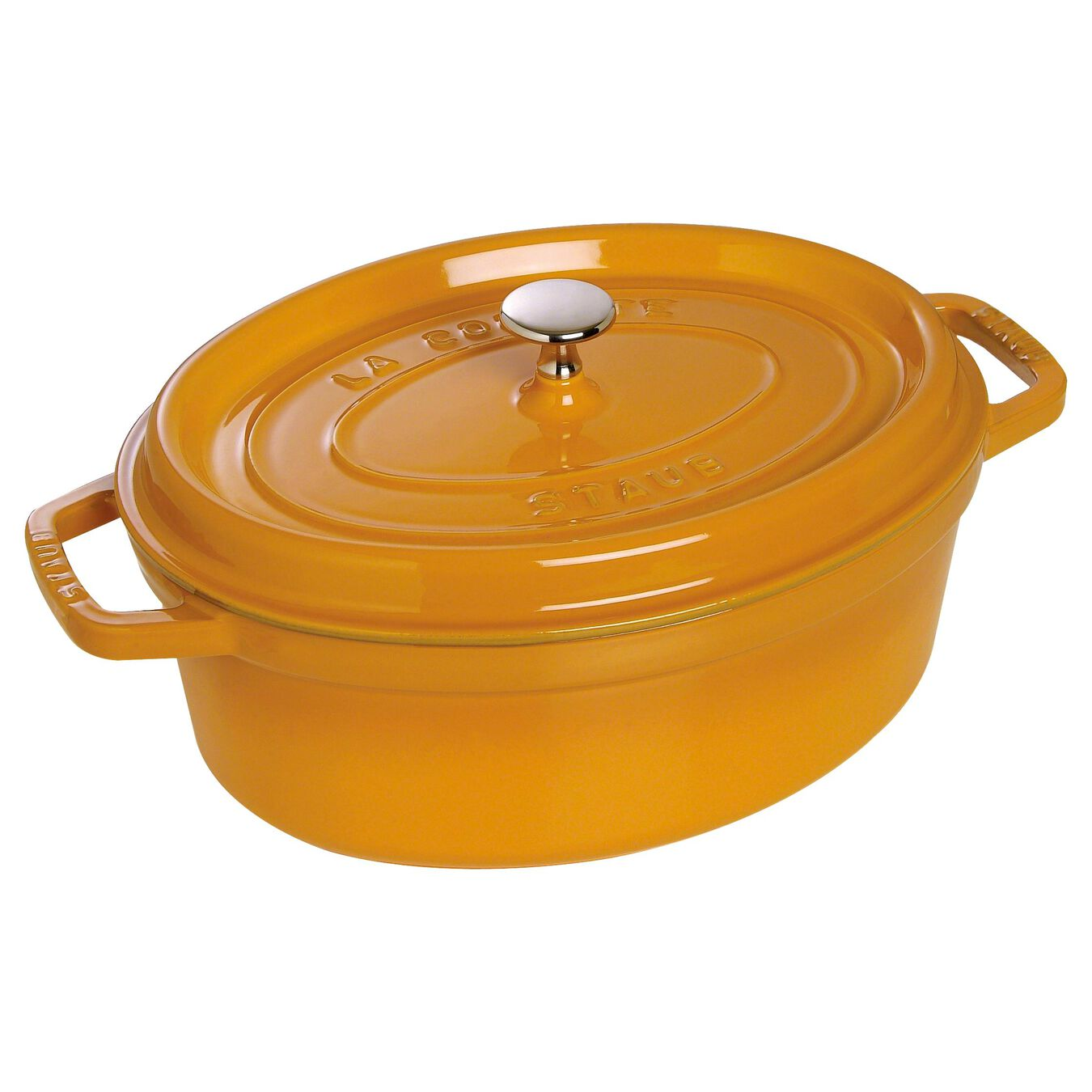 Cocotte 23 cm, Ovale, Moutarde, Fonte,,large 1