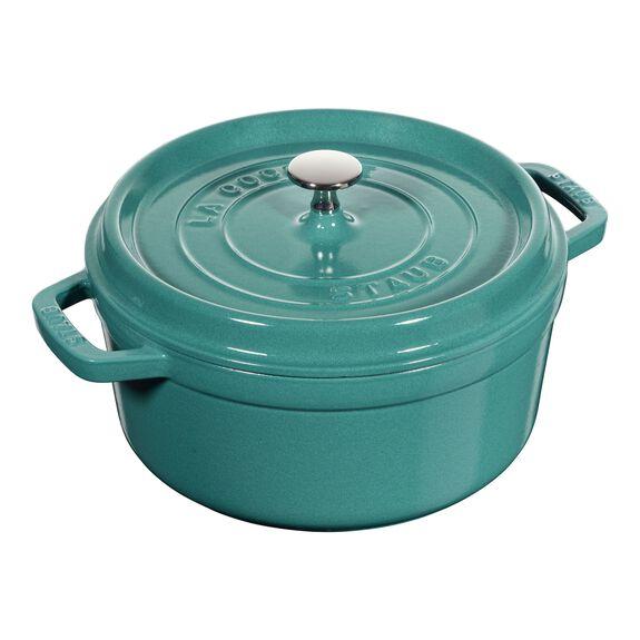 4-qt round Cocotte, Turquoise,,large 2