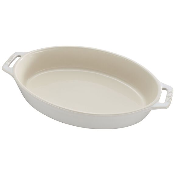 11-inch Oval Baking Dish, Rustic Ivory, , large