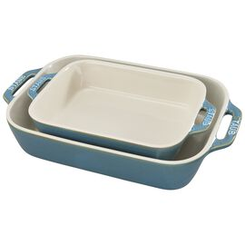 Staub Ceramics, 2-pc Rectangular Baking Dish Set - Rustic Turquoise