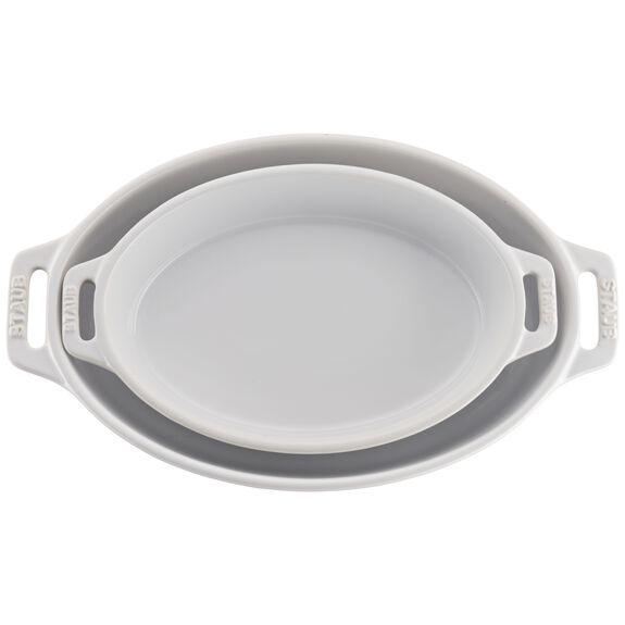 2-pc Oval Baking Dish Set, White, , large 2