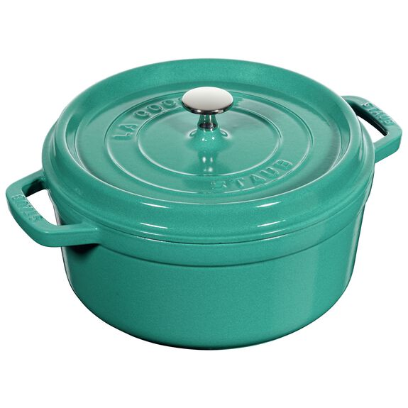 4-qt round Cocotte, Turquoise,,large